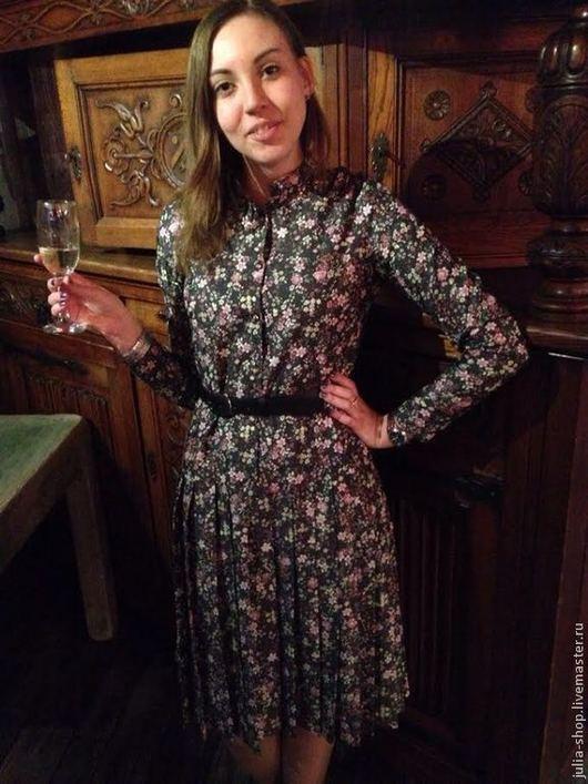 """Платья ручной работы. Ярмарка Мастеров - ручная работа. Купить Джинсовое платье в цветочек """" Плиссе """".. Handmade."""