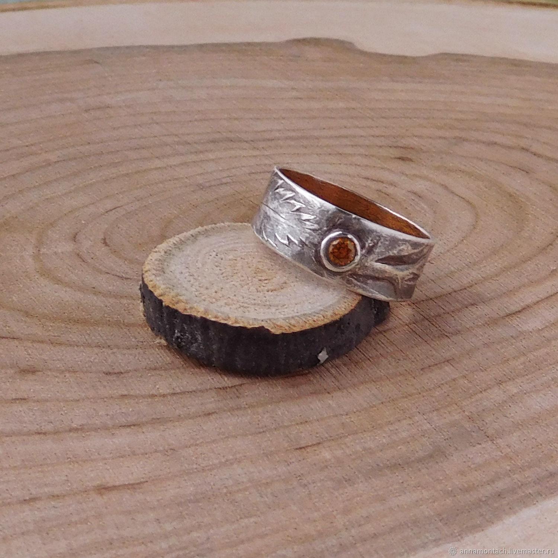 Кольца ручной работы. Ярмарка Мастеров - ручная работа. Купить Серебряное кольцо Папоротник с текстурой листа и оранжевым фианитом. Handmade.