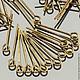 Пины из сплава железа с петлей   глазком   кольцом на конце длиной 20 мм из проволоки 0,7 мм на вес по 100 грамм   около 1200 штук   для сборки украшений с покрытием бронза