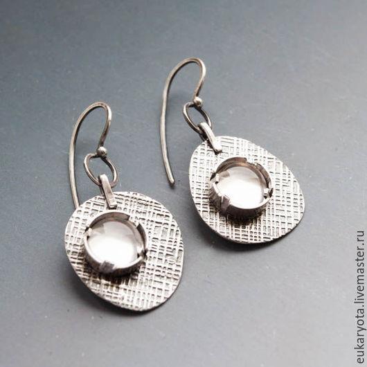 Серьги ручной работы. Ярмарка Мастеров - ручная работа. Купить Серьги из серебра с кварцем Горный воздух. Handmade.