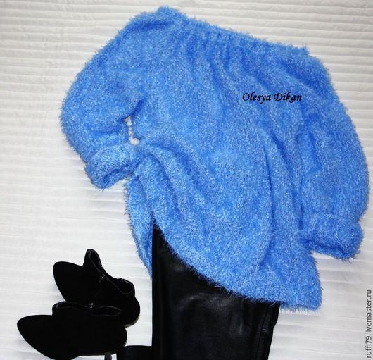 Кофты и свитера ручной работы. Ярмарка Мастеров - ручная работа. Купить свитер голубой. Handmade. Голубой, свитер женский, красивый