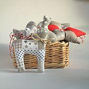 Сувениры и подарки handmade. Livemaster - original item Christmas decoration in Scandinavian style, red, gray, beige. Handmade.