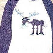 Одежда ручной работы. Ярмарка Мастеров - ручная работа Мужской свитер с жующим лосем. Handmade.