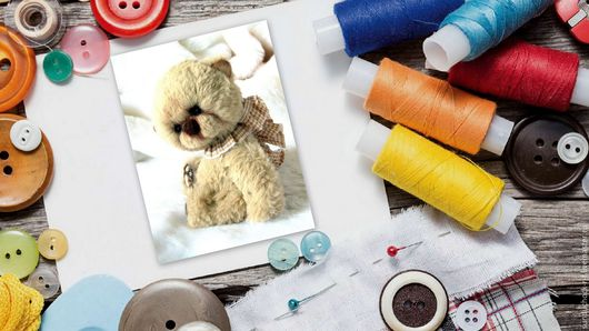 """Куклы и игрушки ручной работы. Ярмарка Мастеров - ручная работа. Купить Набор для создания Мишки-Тедди+выкройка+Мини-МК """"Оживление Тедди"""". Handmade."""