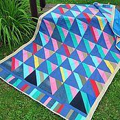 Для дома и интерьера handmade. Livemaster - original item Bright bedspread jeans and cotton. Handmade.