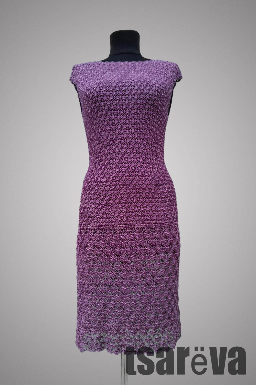 Crochet dress Downtown Jazz. Purple elegant handmade cocktail dress, Dresses, Odessa,  Фото №1
