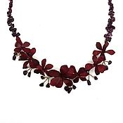Украшения handmade. Livemaster - original item Necklace made of leather and garnets