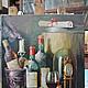 """Натюрморт ручной работы. Ярмарка Мастеров - ручная работа. Купить """"Предназначено для вечности"""".. Handmade. Разноцветный, виноград, бокал, бутылки"""