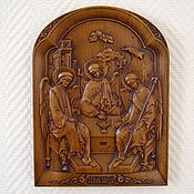 Картины и панно handmade. Livemaster - original item Holy Trinity icon carved from wood. Handmade.