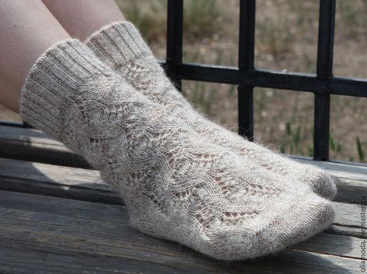 Носки, Чулки ручной работы. Ярмарка Мастеров - ручная работа. Купить Вязаные носки женские серые с альпакой.. Handmade. Серый