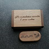 Сувениры и подарки handmade. Livemaster - original item Wooden flash drive with engraving in a box, gift made of wood, usb. Handmade.