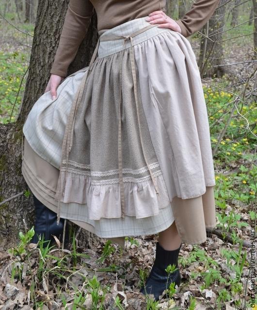 """Юбки ручной работы. Ярмарка Мастеров - ручная работа. Купить Бохо юбка """"Крем-брюле"""". Handmade. Бежевый, бохо юбка"""