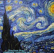 """Картины и панно ручной работы. Ярмарка Мастеров - ручная работа Картина маслом Ван Гог """"Звездная ночь"""" (свободная копия, синий). Handmade."""