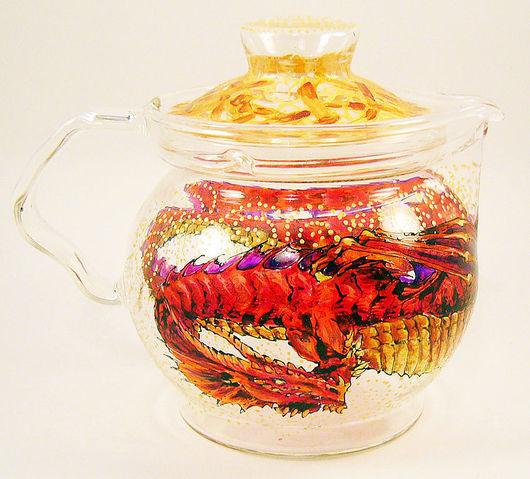 """Кухня ручной работы. Ярмарка Мастеров - ручная работа. Купить Набор """"Красный Дракон"""" - чайник на греющей подставке и чашка. Handmade."""