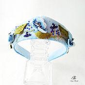 Украшения handmade. Livemaster - original item Rim in the form of a cocoanut velvet Blue poppies. Handmade.
