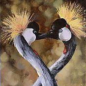 """Картины и панно ручной работы. Ярмарка Мастеров - ручная работа Картина маслом """"Венценосные журавли"""". Handmade."""