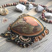 Украшения handmade. Livemaster - original item Olive soutache brooch with natural stone and Swarovski Medusa. Handmade.