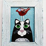 """Картины и панно ручной работы. Ярмарка Мастеров - ручная работа Картина из стекла """"Котик и птичка"""". Handmade."""