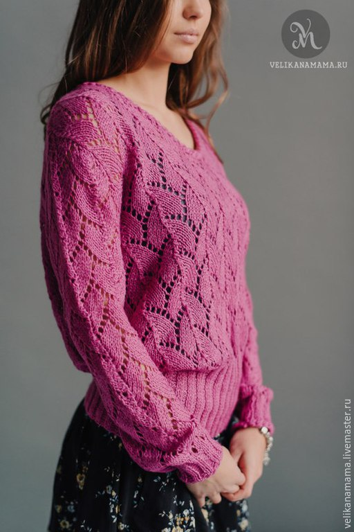 """Кофты и свитера ручной работы. Ярмарка Мастеров - ручная работа. Купить Пуловер """"Ажурный фуксия"""". Handmade. Фуксия, ажурный узор"""