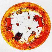 Посуда ручной работы. Ярмарка Мастеров - ручная работа Тарелка Раз,два,три,четыре,пять! Вышли кошки погулять! (Осенние коты). Handmade.