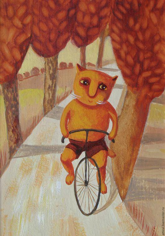 Животные ручной работы. Ярмарка Мастеров - ручная работа. Купить на велосипеде. Handmade. Комбинированный, кот, котик, котенок, коты