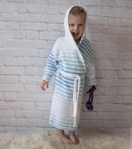 Одежда унисекс ручной работы. Ярмарка Мастеров - ручная работа. Купить Купальный халат. Handmade. Комбинированный, вязаный кардиган, детям