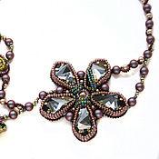 Украшения handmade. Livemaster - original item Beaded necklace with Swarovski Sunset flowers green burgundy grey. Handmade.