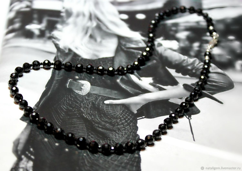Бусы из натуральной чёрной шпинели Чёрный бриллиант, Бусы, Тучково,  Фото №1