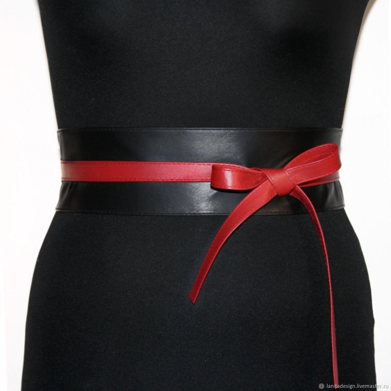 Пояс кушак из кожи Black Red Mix чёрный красный кожаный, Пояса, Москва,  Фото №1
