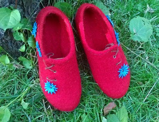"""Обувь ручной работы. Ярмарка Мастеров - ручная работа. Купить Валяные полуботиночки """"Яркая осень"""". Handmade. Ярко-красный"""