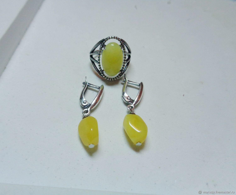 Earrings with natural amber, Earrings, Sergiev Posad,  Фото №1