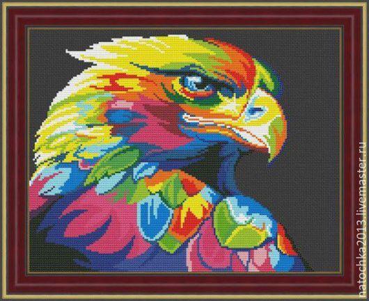 Животные ручной работы. Ярмарка Мастеров - ручная работа. Купить Картина Цветной орел. Handmade. Комбинированный, подарок, орел, интерьер