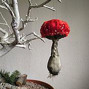 Елочные игрушки ручной работы. Ярмарка Мастеров - ручная работа Красный мухомор из ткани, елочная игрушка красный гриб. Handmade.