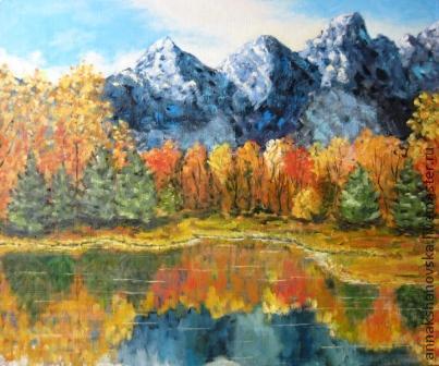 """Пейзаж ручной работы. Ярмарка Мастеров - ручная работа. Купить Картина """"Осень в горах"""". Handmade. Оранжевый, пейзаж, картина, горы"""