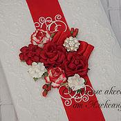 """Свадебный салон ручной работы. Ярмарка Мастеров - ручная работа Папка """"Цветочная поляна"""", в красном. Handmade."""