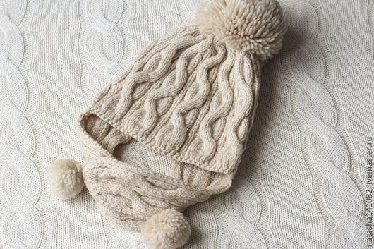 Шапки и шарфы ручной работы. Ярмарка Мастеров - ручная работа. Купить Шапка вязаная с ушками. Handmade. Бежевый, вязание спицами
