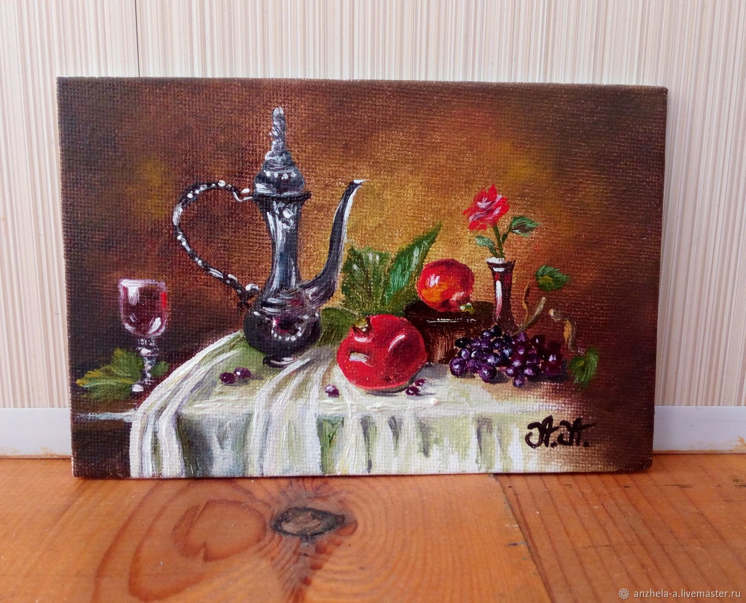 'The color of pomegranates' miniature oil 10/15, Pictures, Moscow,  Фото №1