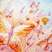 """Картины и панно ручной работы. Ярмарка Мастеров - ручная работа Картина """"Бабочки на лугу"""" масло, холст 40х50 см. Handmade."""