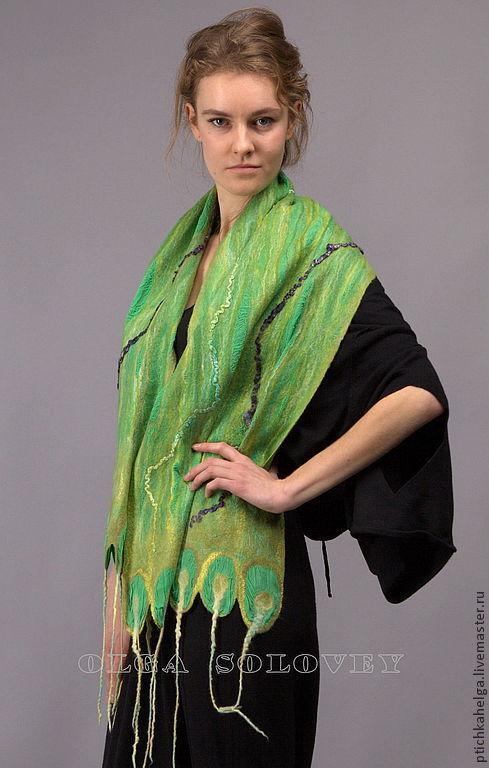 Шарфы и шарфики ручной работы. Ярмарка Мастеров - ручная работа. Купить шарф ЗЕЛЁНОЕ МОРЕ. Handmade. Зеленый, felted scarf
