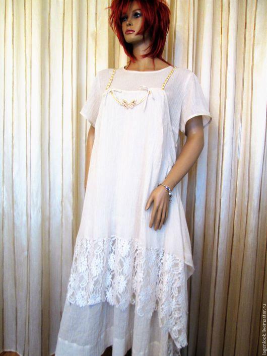 Большие размеры ручной работы. Ярмарка Мастеров - ручная работа. Купить Платье марлевое двухслойное. Handmade. Бежевый, платье, хлопок