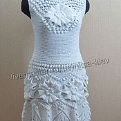 Одежда handmade. Livemaster - original item The most beautiful knitted dress with flowers. Handmade.