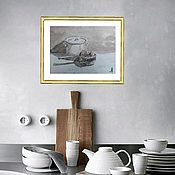 Картины и панно handmade. Livemaster - original item Picture to the Kitchen Black and white with a Pot. Handmade.