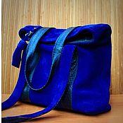Monterrey синий. Замшевая синяя сумка на плечо.