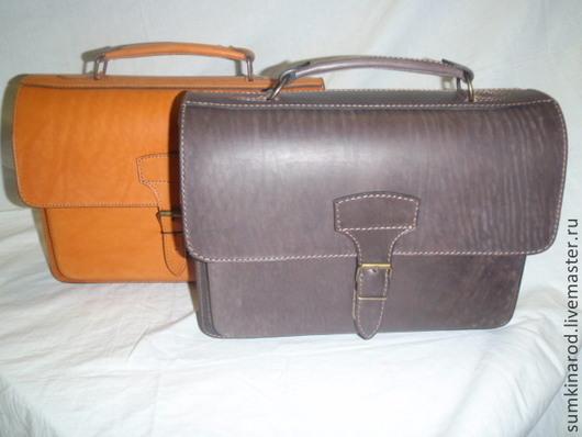 Мужские сумки ручной работы. Ярмарка Мастеров - ручная работа. Купить Кожаный портфель-папка-1 Студент-1. Handmade.