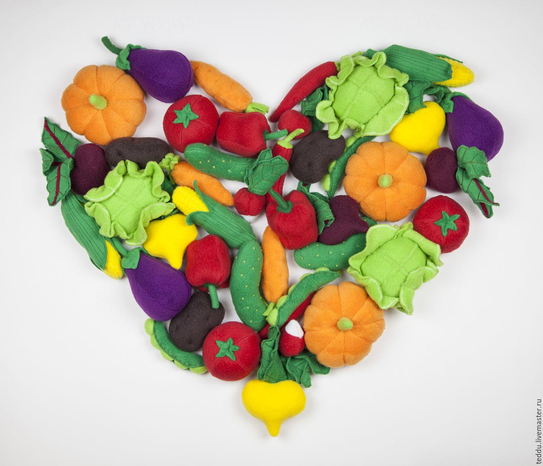 Овощи 14 шт. из флиса для игры, Кукольная еда, Кемь,  Фото №1