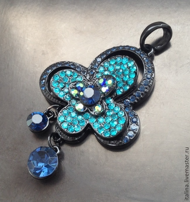 Pendant art. 7-66 with blue crystals, Pendants, Moscow,  Фото №1