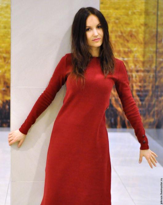 Платья ручной работы. Ярмарка Мастеров - ручная работа. Купить Бордовое теплое  платье. Хлопок трикотаж.Эксклюзив. Handmade. Бордовый