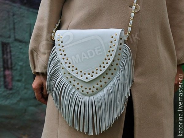 Fringe bag leather with studs on the chain of White gold. Any color!