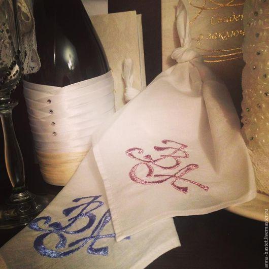 Носовые платочки ручной работы на ситцевую свадьбу  с монограммой
