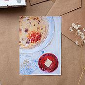 """Открытки ручной работы. Ярмарка Мастеров - ручная работа Открытка """"Блины румяные"""". Handmade."""
